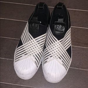 Adidas Black and White Slip on Sneakers Size 5